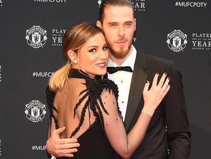 Edurne y David de Gea, en una cena de gala del Manchester United celebrada el 1 de mayo de 2018 en la ciudad inglesa.