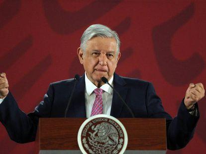 El presidente de México, Andrés Manuel López Obrador, habla durante una rueda de prensa matutina.