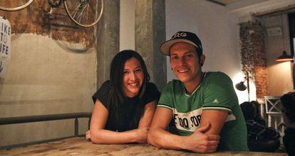 Tamara Marqués y Quique Arias en La Bicicleta Cycling Café.