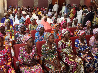 La veintena de niñas liberadas por Boko Haram en 2016.