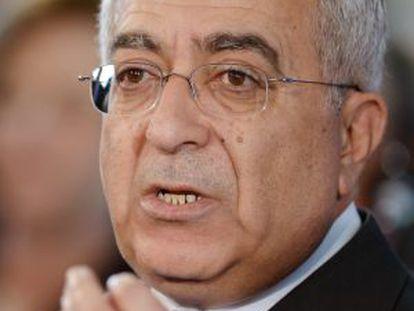 Salam Fayad en una conferencia de prensa el 28 de marzo en Berlín.