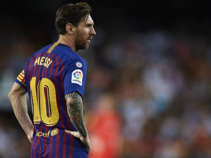 El delantero del FC Barcelona Lionel Messi en Valencia (España) el pasado domingo.