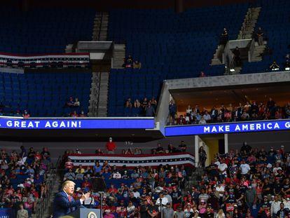 Parte del auditorio vacío en el mitin del presidente de Estados Unidos del pasado 20 de junio, en Tulsa.