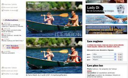 La web del diario 'L'Express' muestra la fotografía original de Reuters (abajo) y el retoque de la revista 'Paris-Match' del michelín del presidente francés, Nicolas Sarkozy, durante sus vacaciones de verano en EE UU.