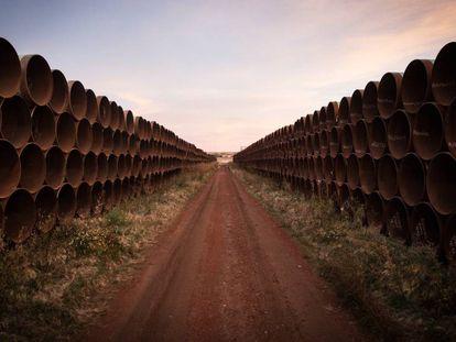 Conductos del oleoducto Keystone XL a su paso por Gascoyne (Dakota del Norte).