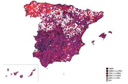 Mapa de Zonas Blancas con una cobertura nula o inferior a 2 Mbps, especialmente visibles en las dos Castillas, pero también en Galicia, Aragón y área pirenaica.