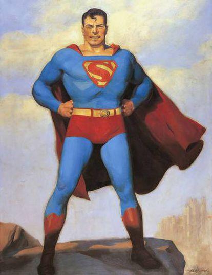 El nuevo show radiofónico de Superman de 1940 se promocionó con esta ilustración de H. J. Ward.