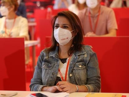 La vicesecretaria general del PSOE y portavoz del Grupo Parlamentario Socialista en el Congreso, Adriana Lastra, durante una reunión del comité federal del PSOE, el pasado 3 de julio.