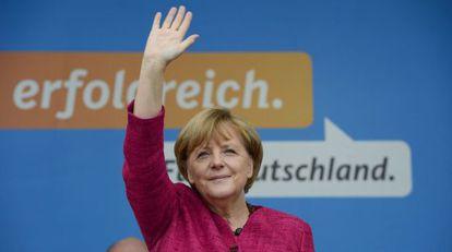 Merkel, el sábado, en el cierre de su campaña en Stralsund.