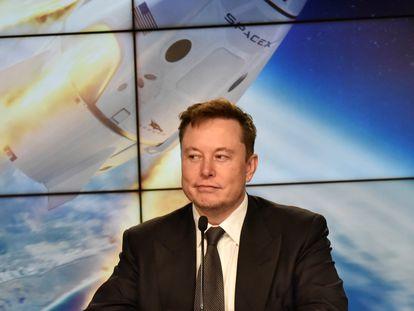 El consejero delegado de Tesla, Elon Musk, durante una rueda de prensa sobre un proyecto espacial, el pasado 19 de enero.