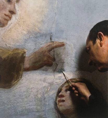 Juan Ruiz trabajando en la ermita de San Antonio de la Florida, en Madrid.