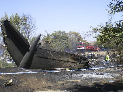 The wreckage of Spanair flight 5022 from Madrid to Gran Canaria.