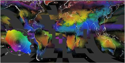 El mapa muestra la distribución de las nubes desde 1999. En negro las zonas con mayor nubosidad anual. Los distintos colores y su intensidad muestran las variaciones mensuales.