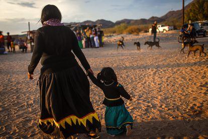 Una mujer durante una ceremonia de la comunidad Seri el 30 de junio de 2021.