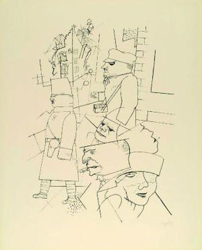 George Grosz. 'Carnaval sangriento', 1915-1916. Transferencia litográfica. Colección particular.