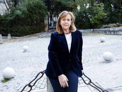 Pilar Martínez, este martes en la fuente de los Caños de Villaviciosa de Odón.