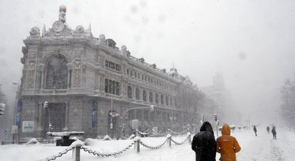Headquarters of the Bank of Spain after the passage of the storm 'Filomena'.