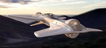 Aspecto idealizado de cómo será el DeLorean DR7. El prototipo actual es una décima parte de su tamaño final.