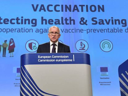 El comisario de Salud, el lituano Vytenis Andriukaitis, durante la conferencia de este jueves en la sede de la Comisión Europea.