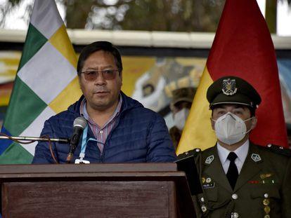 El presidente boliviano, Luis Arce, este jueves durante un acto con el Ejército en El Alto.