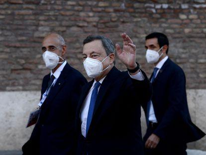 El primer ministro italiano, Mario Draghi, llega el pasado jueves a la reunión de los ministros de Cultura del G20, en el Coliseo de Roma.