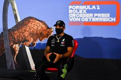 Lewis Hamilton, en una rueda de prensa en el circuito Red Bull Ring, en Austria.