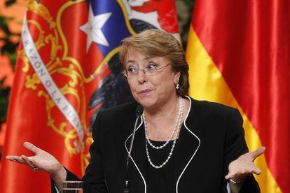 La presidenta chilena en el Palacio de La Moneda.