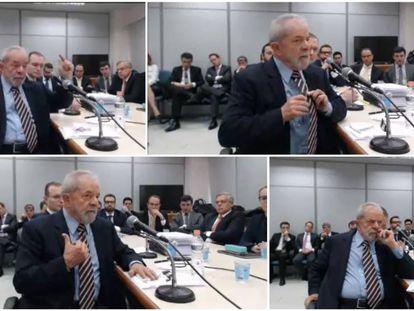 Cuatro momentos de la declaración judicial de Lula.