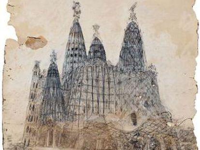 Uno de los dibujos de Gaudí en litigio.