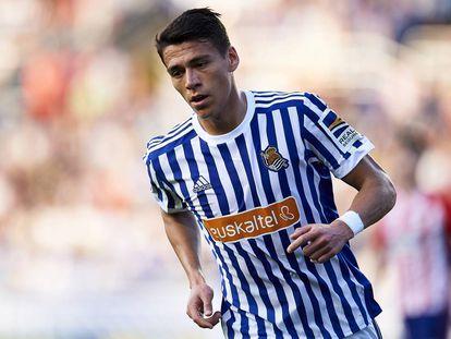 Moreno, durante un partido con la Real.