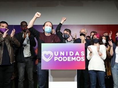 Pablo Iglesias, en una rueda de prensa tras las elecciones de la Comunidad de Madrid, el 4 de mayo.