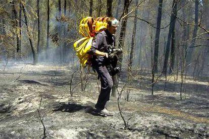 Un miembro del servicio de extinción de incendios lleva una manguera en medio del bosque quemado en Palau de Santa Eulàlia (Girona).