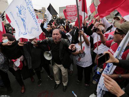 Protesta contra el presidente de Perú, Pedro Castillo, el día del bicentenario de su independencia, el pasado 28 de julio en Lima.