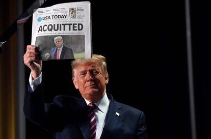 Trump celebrara su absolución en su primer 'Impeachment' en febrero de 2020.