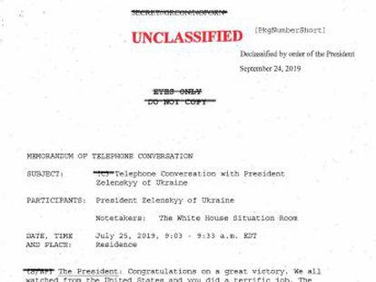Traducción al castellano de la llamada telefónica en la que el presidente estadounidense pide a Volodímir Zelenski que investigue al hijo de su rival político Joe Biden