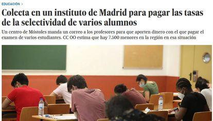 La noticia sobre la imposibilidad de varios alumnos de pagar las tasas de la EvAU.