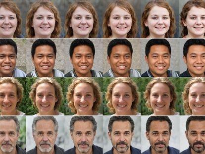 Cuatro series de caras usadas en la investigación de Bogdan Kulynych sobre el algoritmo de Twitter.