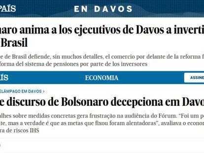 Artículo sobre el discurso de Bolsonaro en Davos en la edición española y brasileña de EL PAÍS.