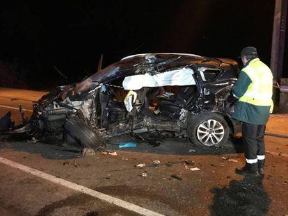 Accidente en Gondomar (Pontevedra) que dejó un fallecido y tres heridos.