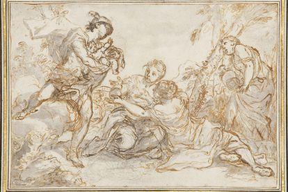 <b>Banville pone a Hermes como narrador. Aquí el dios griego en su versión romana: </b><i>Mercurio ofreciendo al infante Baco a las ninfas</i>, de Procaccini.