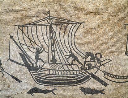 Mosaico romano conservado en el Palacio Diotallevi de Rímini (Italia).