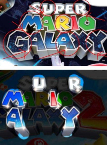 Varios blogs han comparado las dos portadas de 'Super Mario Galaxy' y descrifran un supuesto diálogo gay con las letras destacadas con una estrella.