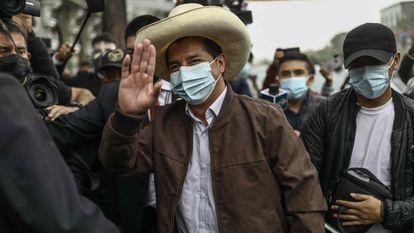 El candidato Pedro Castillo, en Lima, días después de la segunda vuelta de las elecciones presidenciales. /