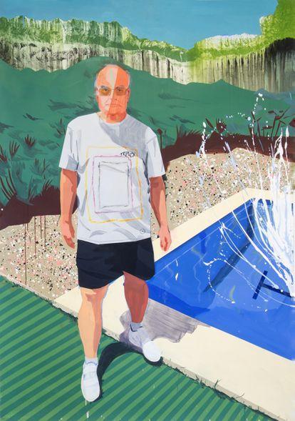 La obra '1, 2, 3... Splash (Retrato de un amigo)', de Miki Leal en la que aparece Luis Gordillo y es un homenaje a David Hockney y a Matisse.