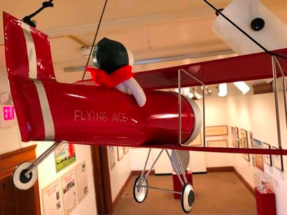 An image from the exhibit on Snoopy and the Red Baron at the Charles M. Schulz Museum in Santa Rosa, California.