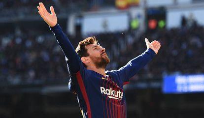Messi, en un partido con el Barcelona.