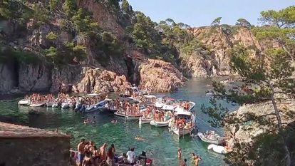 Una fiesta convocada como 'Paella Party' en Cala Masoni, en Cap Roig (Girona).
