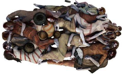 Recreación de la fosa común de Koszyce. El ADN permitió descubrir que las familias fueron enterradas juntas, hace 5.000 años.