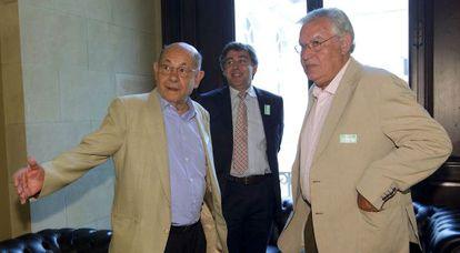Felix Millet, a la izquierda, y Jordi Montull, durante la comisión del Parlament que investigó las irregularidades en la gestión del Palau