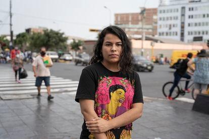 Desiree Huaranga, en el centro de Lima donde se produjeron las protestas el pasado noviembre.